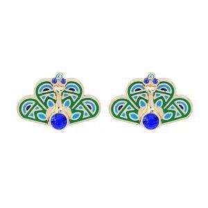Kate Spade Gold & Crystal Peacock Earrings